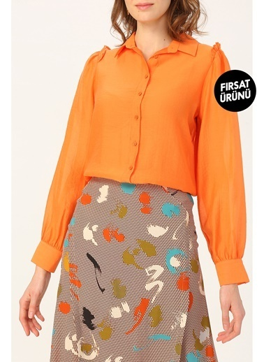 Random Kadın Omuzları Fırfır Detaylı Gömlek Somon